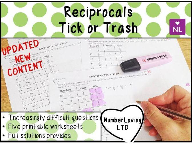 Reciprocal Tick or Trash Worksheets