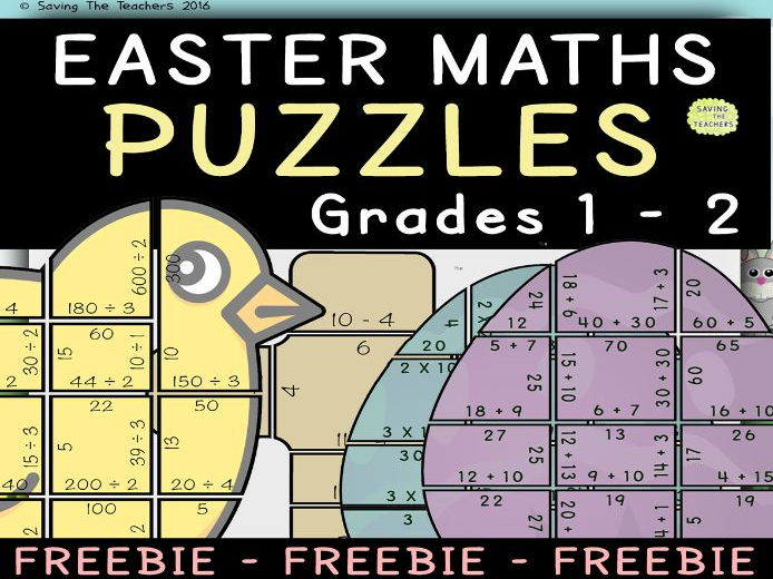 Easter Maths Puzzle: Grades 1 - 2 FREEBIE