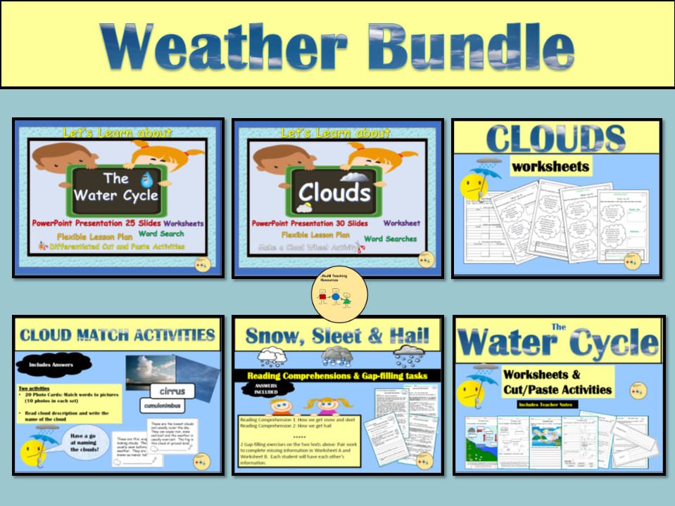 Water Cycle, Clouds, Weather: PowerPoint Presentations, Lesson Plans, Worksheets, Activities Bundle