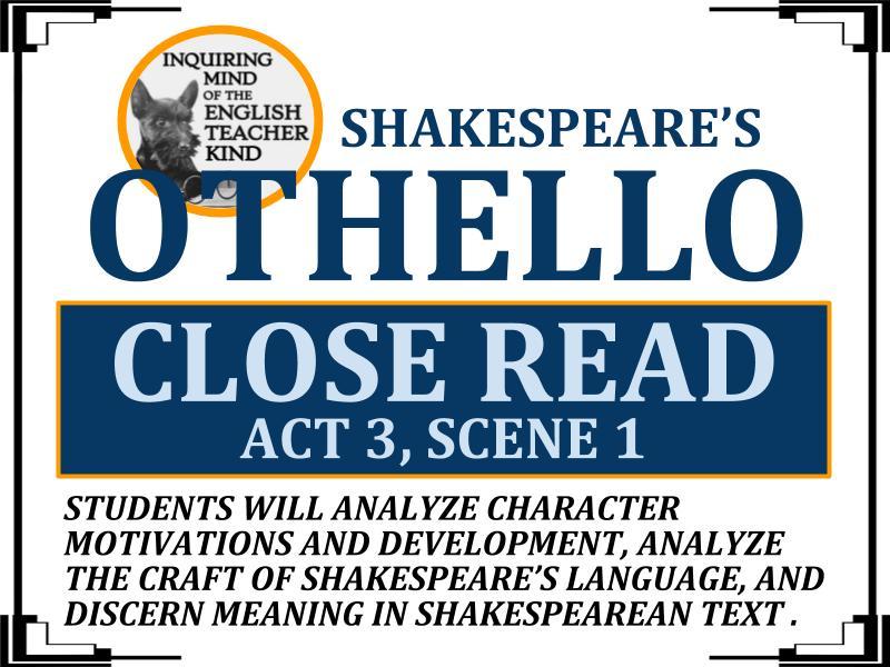 Othello Close Reading Worksheet (Act 3, Scene 1)