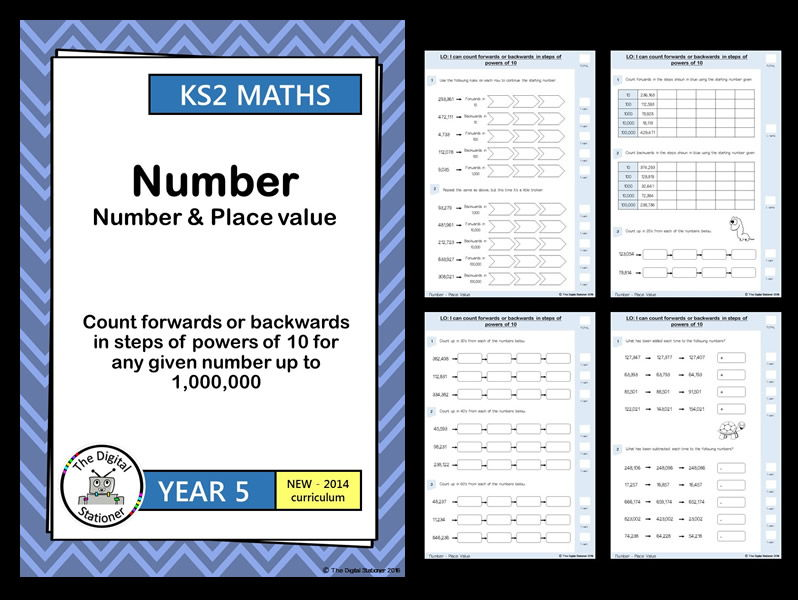 Year 5 - Count forwards and backwards in powers of 10 - Number & Place Value (inc. mastery)
