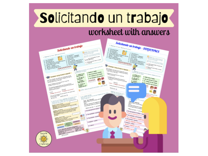¡A currar! Solicitando un trabajo. Entrevista. Spanish GCSE the world of work. Worksheet & answers