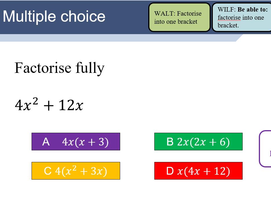 Factorising single term - lesson bundle