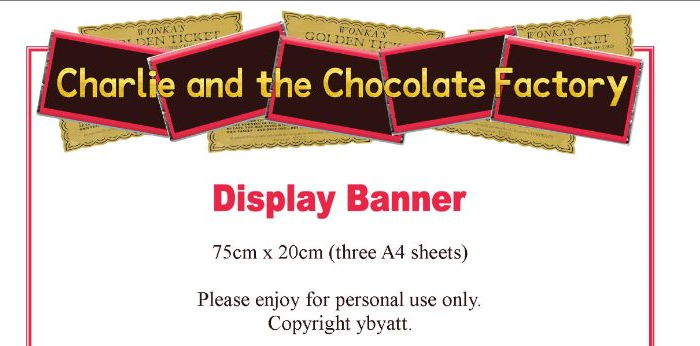 Charlie and the Chocolate Factory / Willy Wonka Display Banner
