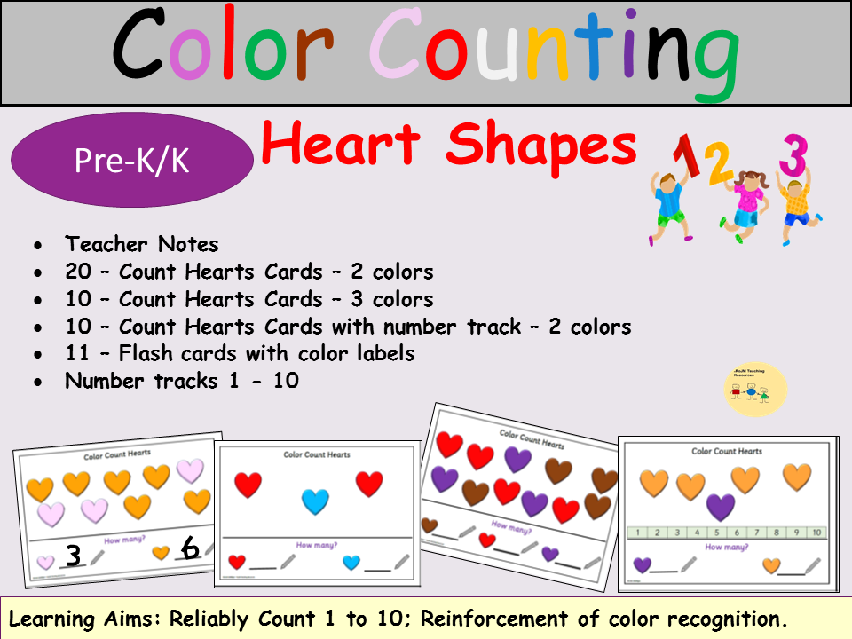 Color Counting Heart Shapes 1-10, 40 Task Cards, Flash Cards, Number Tracks, Teacher Notes - Pre-K/K