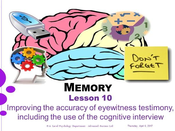 Powerpoint - Memory - Lesson 10 - Improving the accuracy of eyewitness testimony