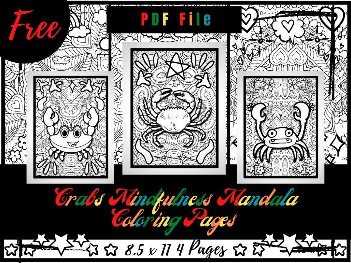 FREE Crabs Mindfulness Mandala Coloring Pages, FREE Animals Coloring Printable Sheets PDF