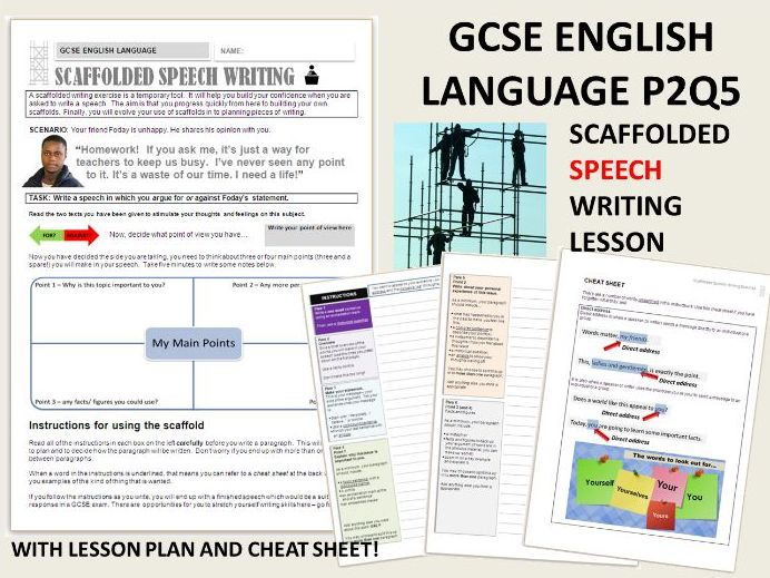 GCSE English Language 9-1 Scaffolded Speech Writing - Whole Text Exercise (about Homework)