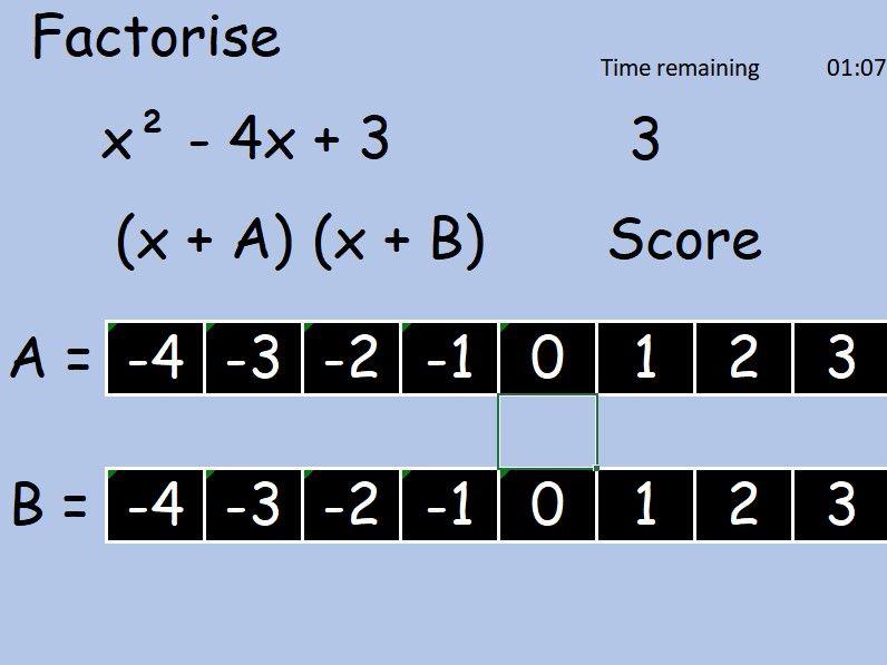 Factorising quadratic starter question generator