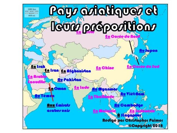 French: Asian countries with prepositions (Key Stage 3 level)