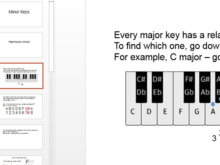 Minor Keys - Relative minors, forming harmonic and melodic minor keys - PowerPoint