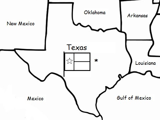 TEXAS  - Printable handout with map and flag