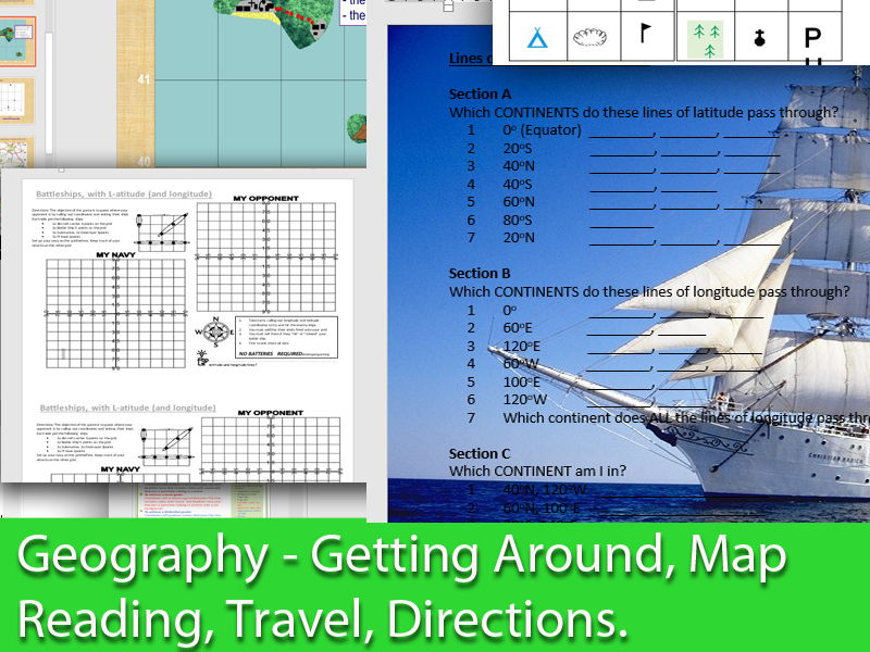 KS3 & GCSE OCR, AQA Geography - Map Reading, Longitude and Latitude And Travel