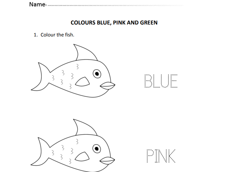 Colours Blue, Pink and Green for Nursery and Reception Students