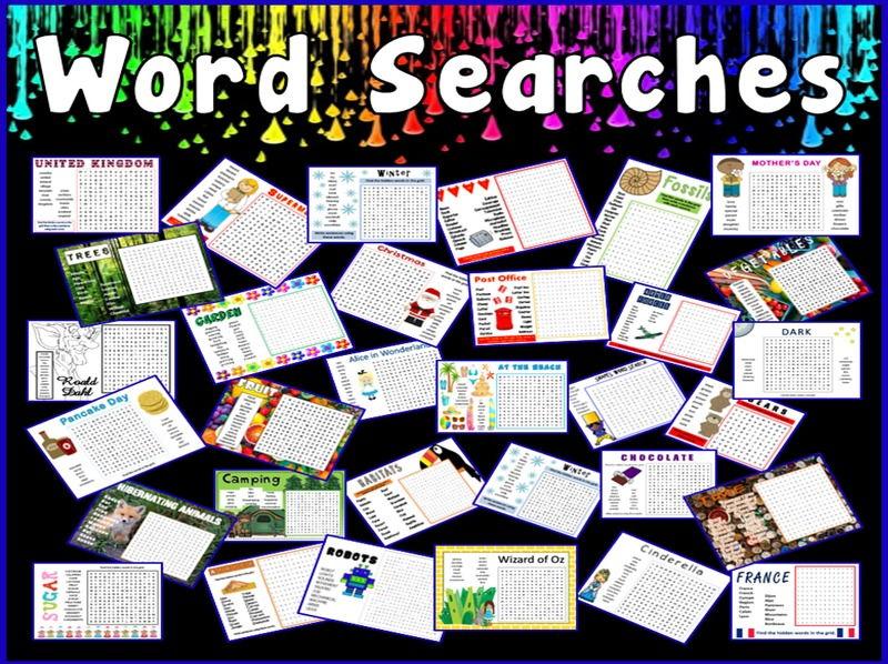 WORD SEARCHES TEACHING RESOURCES KS1-2 CHILDMINDER PRINTABLE PDF GAP FILL