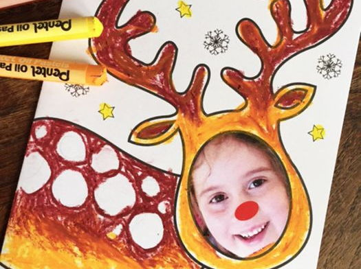 Christmas Cards Art Activity, Personalised Reindeer  - add your photo