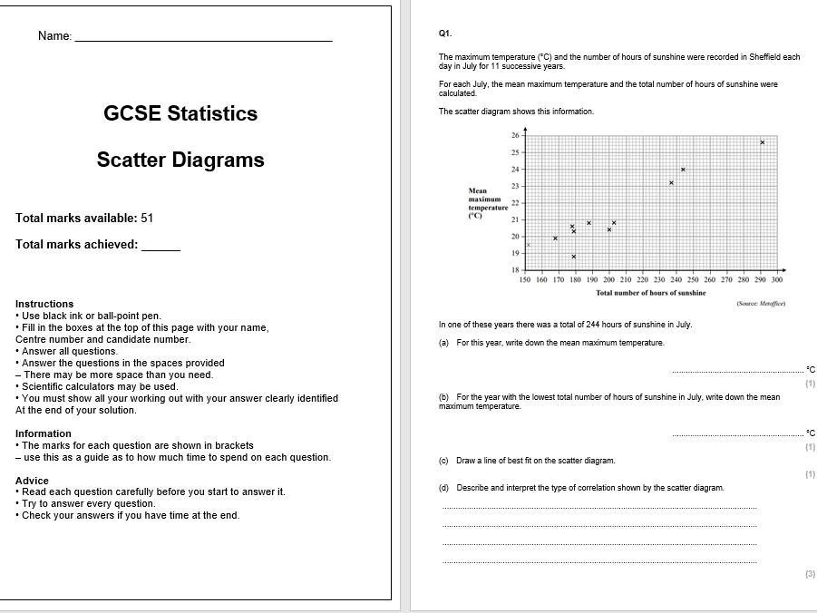 Scatter Diagrams Exam Questions (GCSE Statistics)
