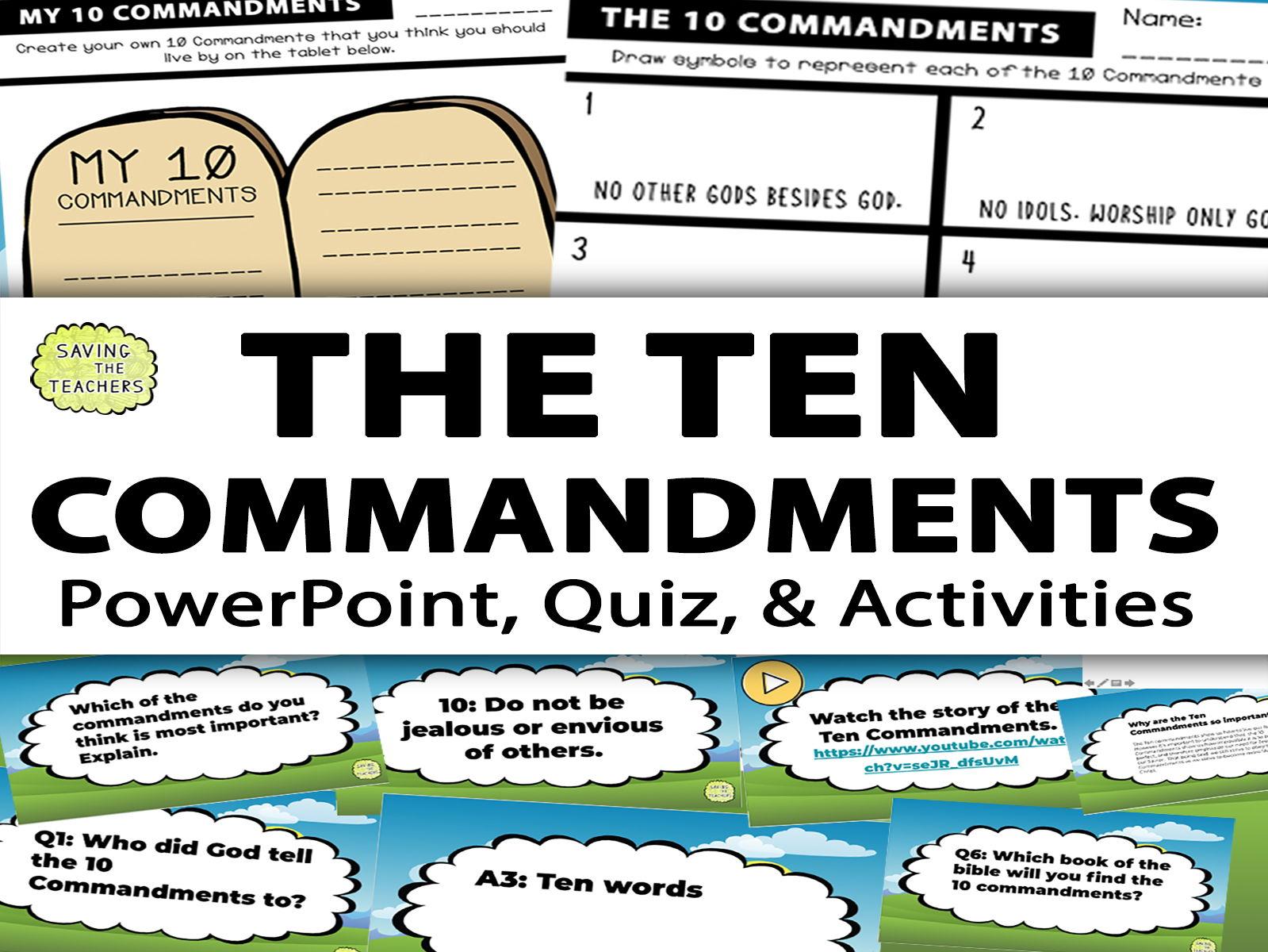 Religious Education: The Ten Commandments Google Slides and Quiz