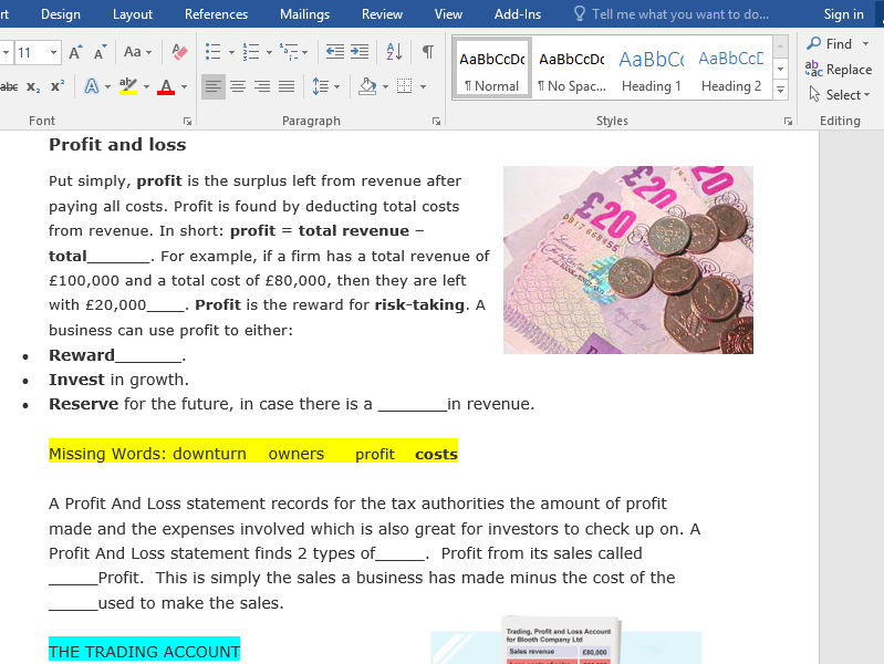 Profit And Loss Acounts Starter, Activity And Test Yourself Exam Questions for Level 2 GCSE and BTEC