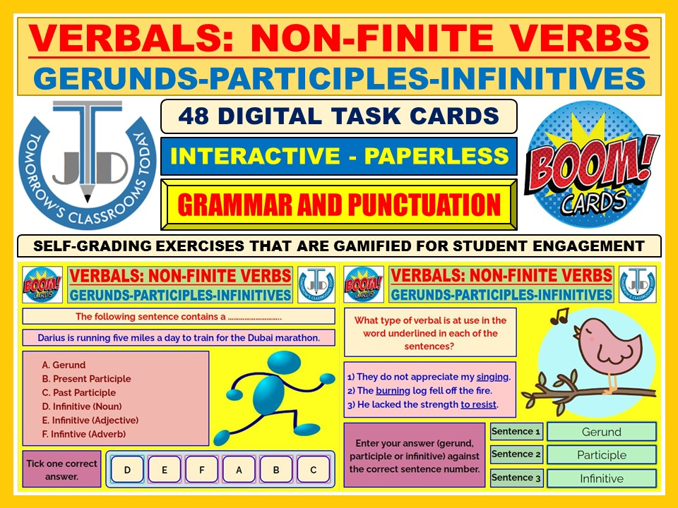 VERBALS - GERUNDS, PARTICIPLES, INFINITIVES: 48 BOOM CARDS