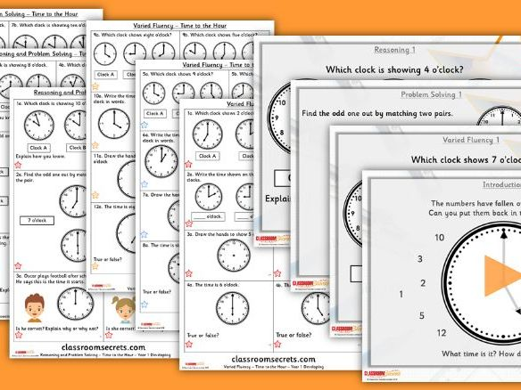 Year 1 Time to the Hour Block 6 Step 3 Lesson Pack
