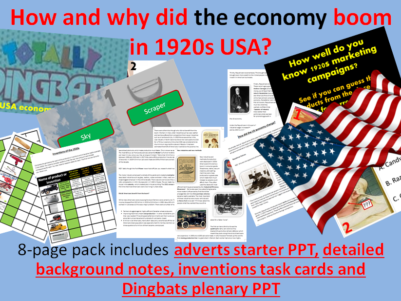 US economy in the 1920s - 8-page full lesson (starter PPT, notes, invention task cards, plenary PPT)