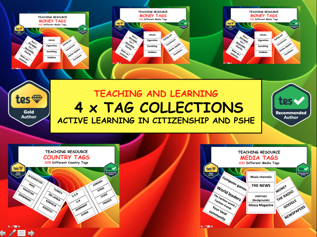 4x Full sets of PSHE and Citizenship Tags - Debating Activity -