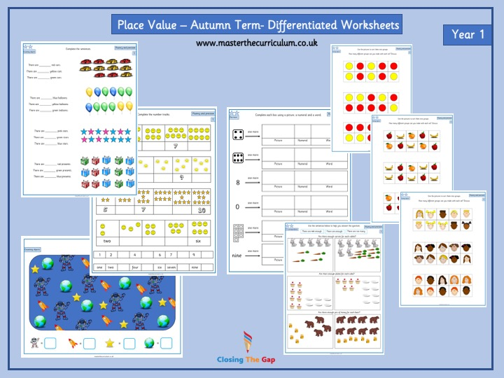 Year 1- Autumn Term- Block 1 week 1- 2 Place Value Differentiated Sheets White Rose Style