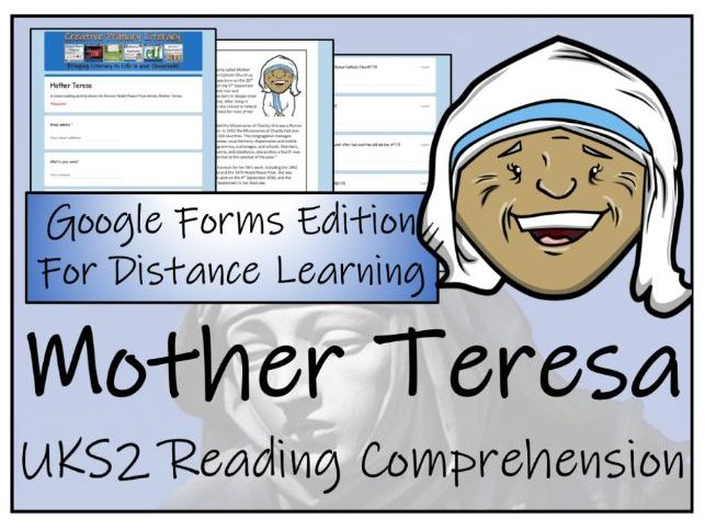 UKS2 Mother Teresa Reading Comprehension & Distance Learning Activity