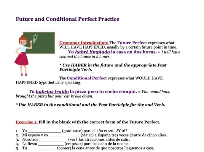 Future and Conditional Perfect Worksheet (Spanish)