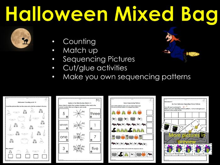 Halloween Counting, Numbers, Match Up, Sequencing Picture Patterns and Cut/Glue Activity Worksheets