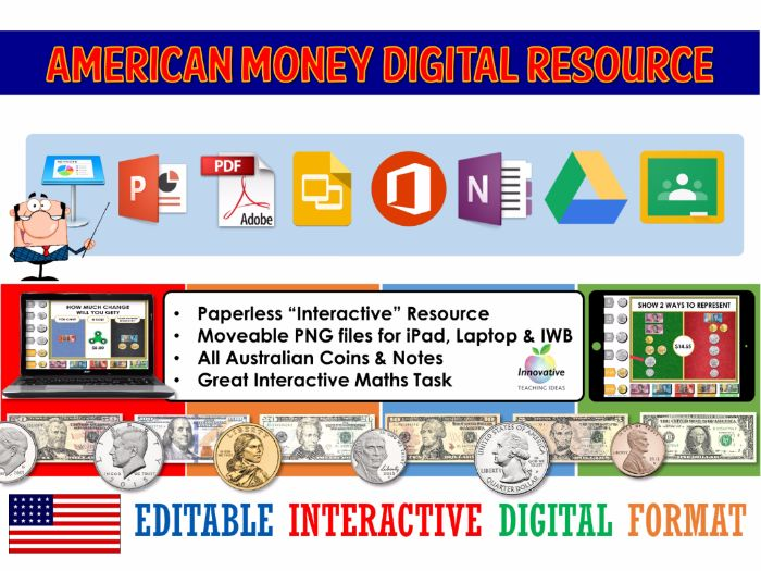 American Money Digital Interactive Resource (Google Classroom / iPad / IWB)