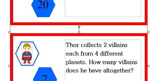 KS1 Maths Challenge Card Activity - Theme Superheroes