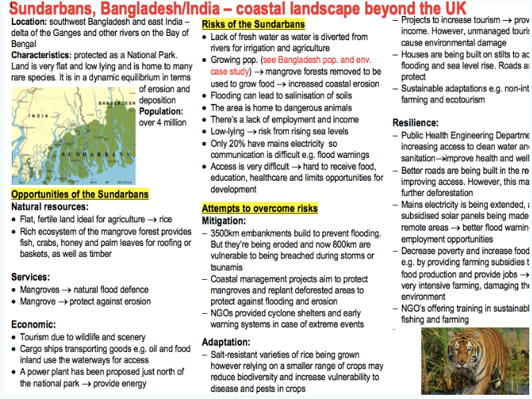 AQA A-level Geography Human and Physical case studies