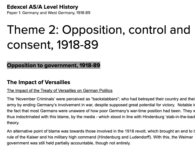 Edexcel AS/A Level History - Paper 1, Route G; Germany and West Germany 1918-89; Theme 2