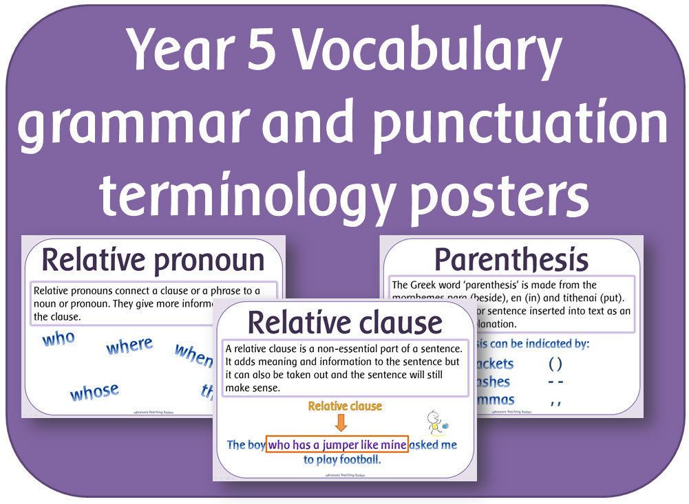 Year 5 Vocabulary grammar and punctuation terminology posters by ...