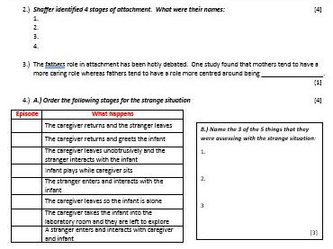 ATTACHMENT - End of Topic points test / Short Gap Fill Test - AQA Psychology (new spec) Year 1