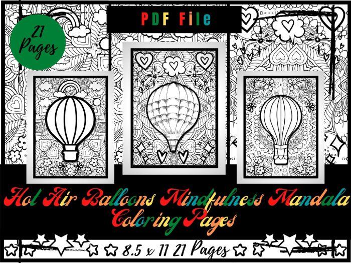 Hot Air Balloons Mindfulness Mandala Colouring, Kids Relaxing Printable Sheets