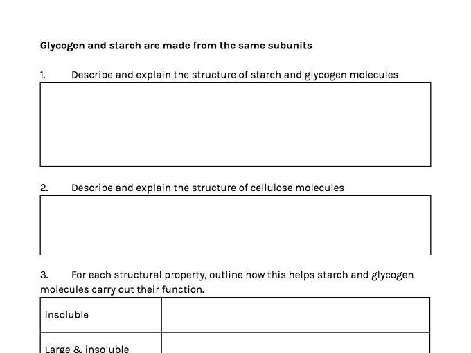 A Level Biology | Biological Molecules 1.4 | Starch, glycogen & cellulose | Summary Sheet
