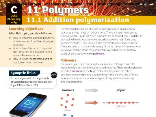 New (9-1) AQA GCSE Chemistry C11 Polymers Revision PackVideos,Notes, Questions, Past Papers