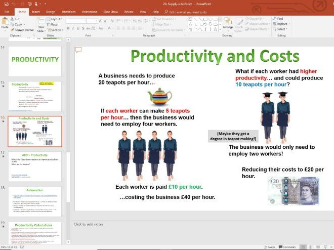 20. Supply-Side Policy & Productivity (Slides, Activities and Notes) - A-Level Economics - Theme 2