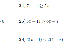 Inequalities worksheets (with solutions)