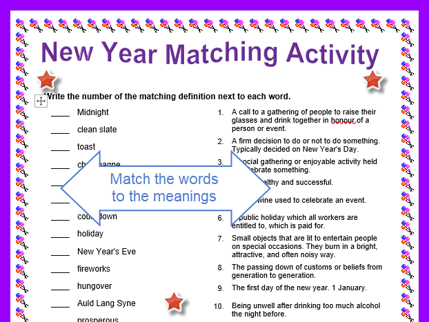 new year matching words worksheet with answers by resource_creator teaching resources tes
