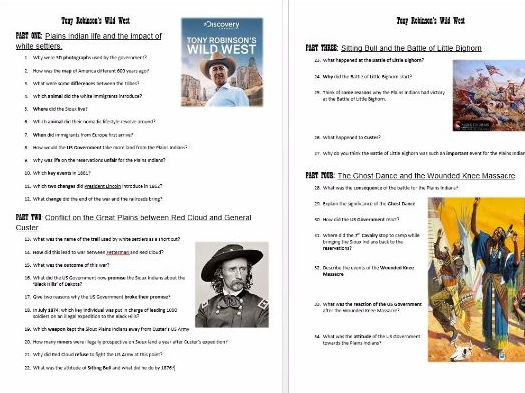 GCSE History The American West: Tony Robinson's Wild West Question Sheet