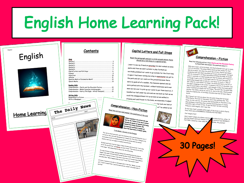 English Home Learning Packs KS3
