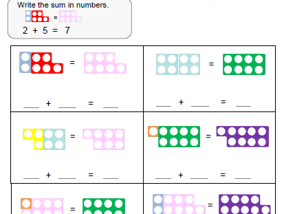 Numicon 1-20 addition worksheets