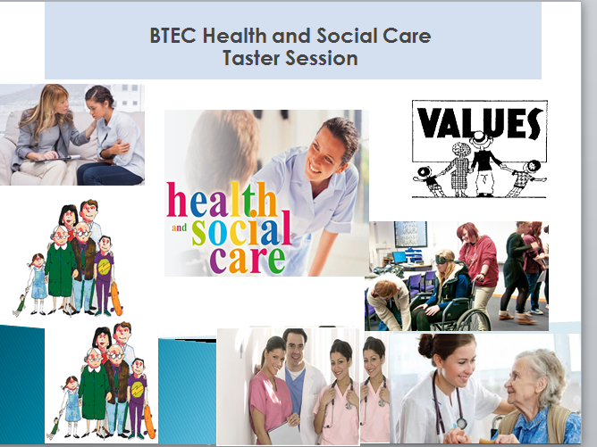 Taster Session/Induction in Health and Social Care- Lesson and worksheets (Care Values)