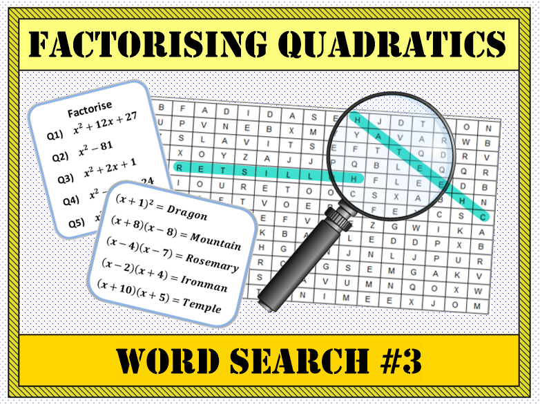 Factorising Quadratics Word Search #3