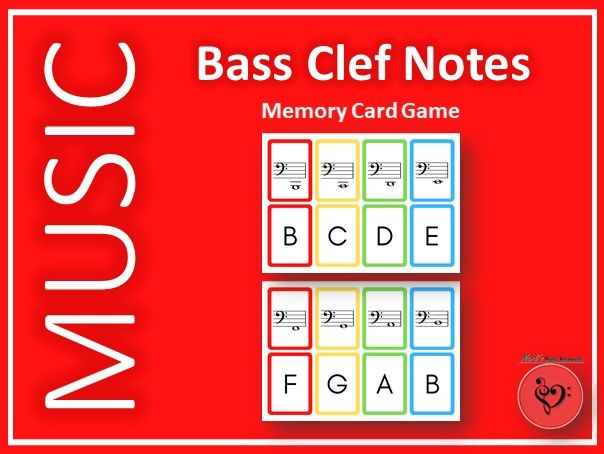 Bass Clef Notes Memory Card Game