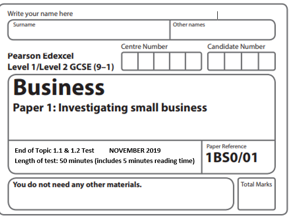 Edexcel GCSE Business 9-1 1.1 & 1.2 Assessment